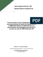 Processo seletivo simplificado para transferência de 110 empregados da CEB