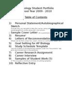 AP BIOLOGY STUDENT PORTFOLIO 2009 - 2010 (2)