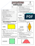 Apostila geometria plana - Áreas (12 páginas, 58 questões, com gabarito)