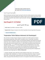 Ayat Ruqyah Syar'iyyah Arab, Latin, Terjemahan Arti Bahasa Indonesia