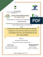 PFE-SEWANOU_ESTIMATION DES INCERTITUDES DE MESURE LORS DES ETALONNAGE DES BALANCE ET L'OPTIMISATION DE LEUR PERIODICITE DE SUIVI QUOTIDIEN