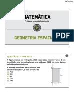Lista de exercícios Geometria Espacial PROMILITARES