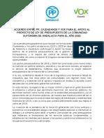 Acuerdo entre PP, Cs y Vox para el apoyo a los Presupuestos de Andalucía 2021