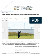 RSM Classic Thursday tee times, TV and streaming info