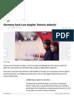 Germany back Low despite 'historic debacle'