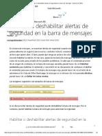 Habilitar o deshabilitar alertas de seguridad en la barra de mensajes - Soporte de Office