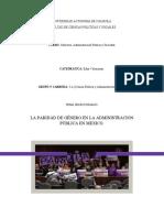 LA PARIDAD DE GENERO EN LA ADMINISTRACION PUBLICA EN MEXICO.