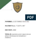 formulacion TEMA II IDENTIFICACIÓN Y SELECCIÓN DE SITIOS Y PROGRAMAS DE DESARROLLO TURÍSTICO