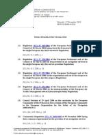 List of SES Legislation Up to 2010-12-17
