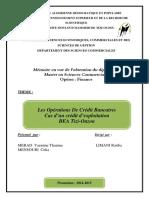 Mémoire - Les Opérations De Crédit Bancaires
