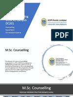 Taklimat Akademik Program MSc Counselling, MSW, MSc Correctional Science 6 September 2020
