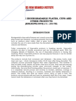 PROJECT REPORT ON DISPOSABLE BIODEGRADABLE PLATES, CUPS AND OTHER PRODUCTS