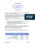 2011 Budget Report to the Board of Selectmen