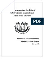ITF Assignment on the Role of Arbitration in International Commercial Disputes