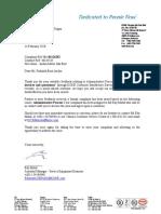 Jaidon Motor Complaint Acknowledgement Letter