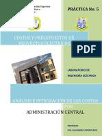 Práctica No. 5 COSTOS INDIRECTOS (ADMINISTRACION CENTRAL)