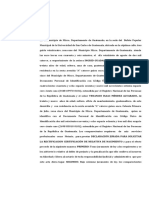 DECLARACION JURADA  SOLICITANDO NEGATIVA DE NACIMIENTO, Ingrid flores y Venancio Méndez