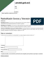 Radiodifusión Sonora y Televisión abierta – Agencia de Regulación y Control de las Telecomunicaciones