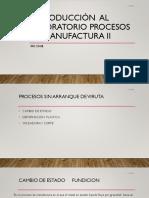 Introducción  al laboratorio de procesos de manufactura II