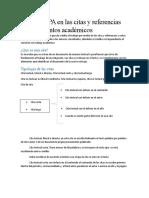 El estilo APA en las citas y referencias en documentos académicos