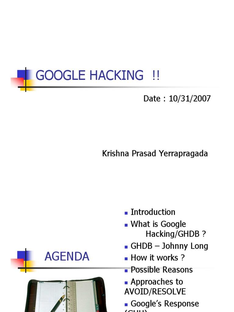 Krishna Google Hacking   Security Hacker   Web Search Engine