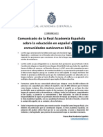 Comunicado de la Real Academia Española sobre la educación en español en las comunidades autónomas bilingües