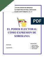 2da asignacion DE PREMILITAR- 5to AÑO. EL PODER ELECTORAL COMO EXPRESION DE SOBERANIA
