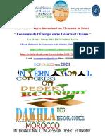 Le Troisième Congrès International Sur l'Économie Du Désert. Économie de l'Énergie Entre Déserts Et Océans. ENCG Dakhla, Sahara, Maroc. Pr. Elouali AAILAL