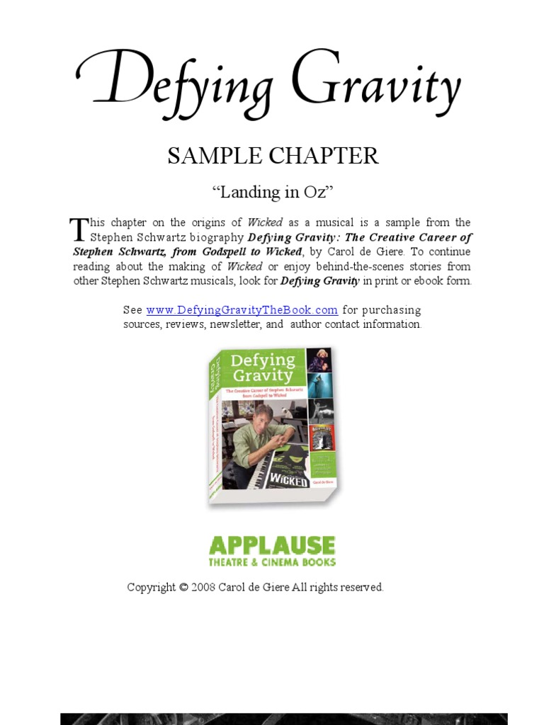 Landing In Oz Sample Chapter From Defying Gravity A Stephen
