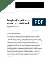 Emmelheinz, Irmgard - Imaginación política en la democracia neoliberal — Campo de relámpagos