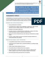 Reglamento general de uso y servicio del laboratorio de electricidad, norma de seguridad, uso de herramientas e instrumentos de medición de magnitudes eléctricas.docx