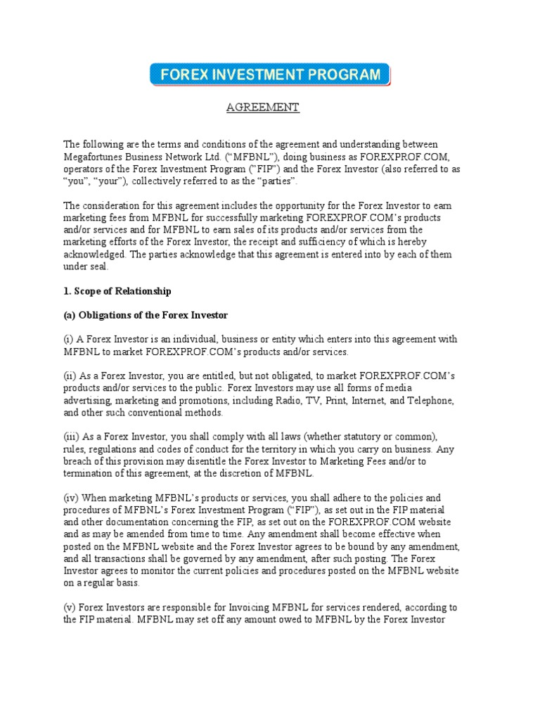 Forex Investor Agreement Indemnity Payments