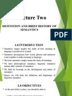 Lecture Two Semantics