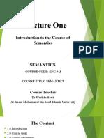 Lecture One Semantics