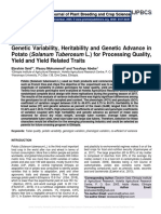 Genetic Variability, Heritability and Genetic Advance in Potato (Solanum Tuberosum L.) for Processing Quality, Yield and Yield Related Traits