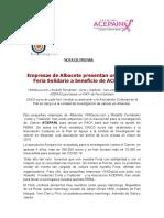 NOTA DE PRENSA Pack de Feria Solidario ACEPAÍN