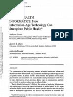 Public Health Informatics How Infomration Age Technology Can Strengthen Public Health