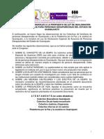 2a ronda de observaciones de los Colectivos de familias de personas desaparecidas a la iniciativa de Ley de Declaración Especial de Ausencia