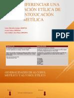 Cómo diferenciar una intoxicación etílica de una metílica