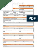 Formato de Inscripcion  formato incripcion EN EXCEL