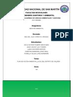 Plan de Accion Ambiental Local Del Distrito de Calzada.