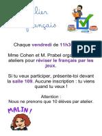 Atelier de français