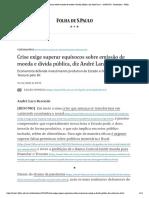 Andre Lara Resende - Crise exige superar equívocos sobre emissão de moeda e dívida pública, diz André Lara - 16_05_2020 - Ilustríssima - Folha