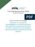 Propuesta de Intervención Psicopedagógica en El Ámbito Educativo, Para Mejorar Los Problemas de Conducta en Niños y Niñas de 4 y 5 Años de Edad a Causa de Las Distintas Relaciones de Crianza Parental.