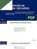 Suscripción de Genneia 2022 en Dolares Cash_