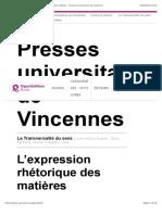 La Transversalité du sens - L'expression rhétorique des matières - Presses universitaires de Vincennes