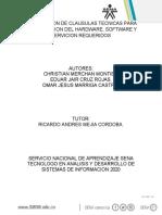 EVIDENCIA 4 ELABORACION DE CLAUSULAS TECNICAS PARA CONTRATACION DEL HARDWARE, SOFTWARE Y SERVICION REQUERIDOS