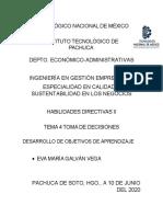 Unidad 4 Toma de decisiones Habilidades Directivas II ITP