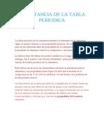 IMPORTANCIA DE LA TABLA PERIODICA
