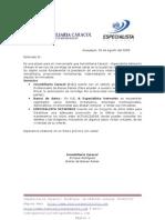 Carta de presentación de Inmobiliaria Caracol & Especialista Networks